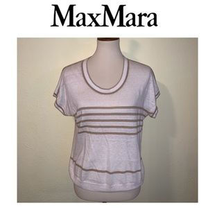 MaxMara Tan and Beige Short Sleeved Top.  Size M